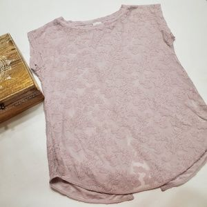 Wilfred Anvers lavender textured top w/ open back